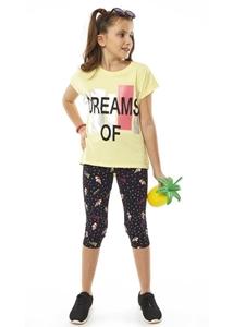 Εβίτα Fashion Σετ Κάπρι,Με Κοντομάνικη Μπλούζα Dreams, Κίτρινο