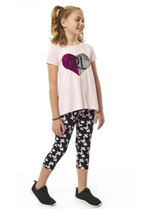 Εβίτα Fashion Σετ Κάπρι,Με Κοντομάνικη Μπλούζα Καρδιά Παγιέτες, Ροζ