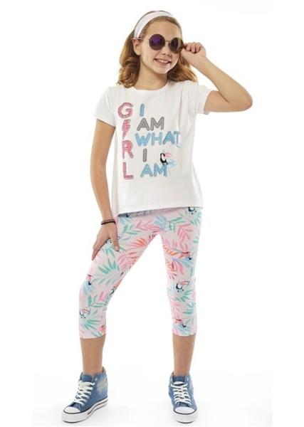 Εβίτα Fashion Σετ Κάπρι,Με Κοντομάνικη Μπλούζα Και Κορδέλα I Am What I Am, Λευκό