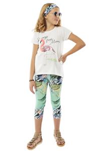 Εβίτα Fashion Σετ Κάπρι Κολάν Με Κοντομάνικη Μπλούζα Φλαμίνγκο, Λαχανί