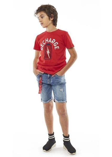 Hashtag Μπλούζα Κοντομάνικη Recharge Για Αγόρι, Κόκκινη