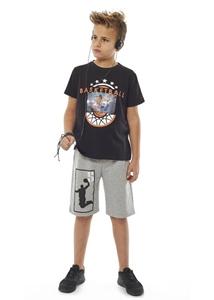 Hashtag Σετ Μακώ Βερμούδα Και Κοντομάνικη Νπλούζα Basketball Για Αγόρι, Μαύρο
