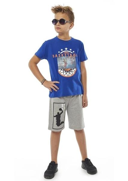Hashtag Σετ Μακώ Βερμούδα Και Κοντομάνικη Mπλούζα Basketball Για Αγόρι, Ρουά