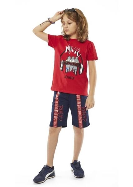 Hashtag Σετ Μακώ Βερμούδα Και Κοντομάνικη Mπλούζα The Music Για Αγόρι, Κόκκινο