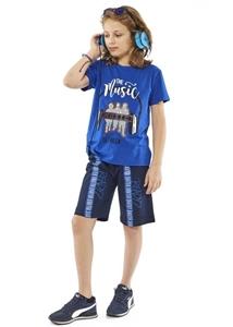 Hashtag Σετ Μακώ Βερμούδα Και Κοντομάνικη Mπλούζα The Music Για Αγόρι, Μπλέ