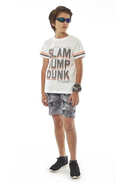 Hashtag Σετ Μακώ Βερμούδα Και Κοντομάνικη Mπλούζα Los Angeles Για Αγόρι, Λευκό