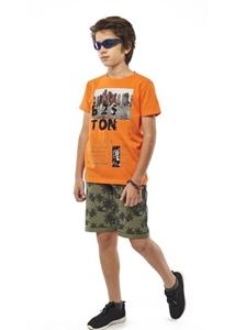 Hashtag Σετ Μακώ Βερμούδα Και Κοντομάνικη Mπλούζα Boston Για Αγόρι, Πορτοκαλί