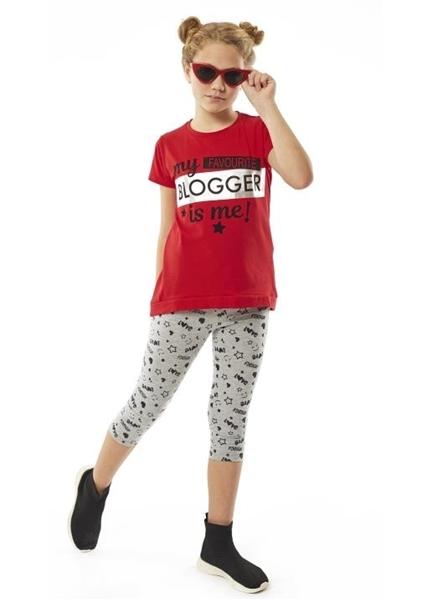 Εβίτα Fashion Σετ Κάπρι,Με Κοντομάνικη Μπλούζα Blogger, Κόκκινο