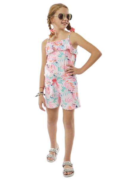 Εβίτα Fashion Ολόσωμη Φόρμα Σορτς Με Παπαγάλους, Ροζ