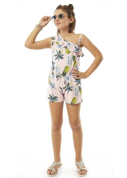 Εβίτα Fashion Ολόσωμη Φόρμα Σορτς Με Ανανά, Ροζ