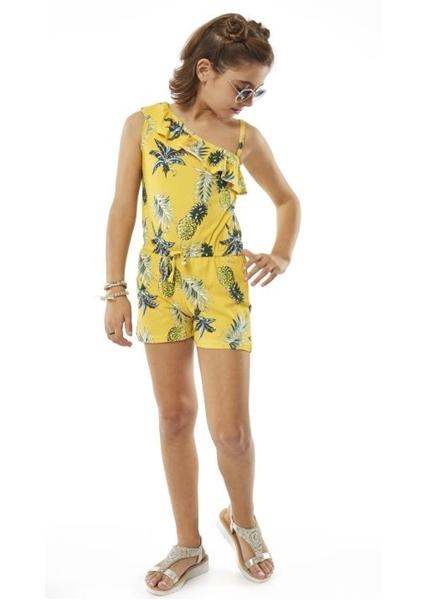 Εβίτα Fashion Ολόσωμη Φόρμα Σορτς Με Ανανά, Κίτρινο