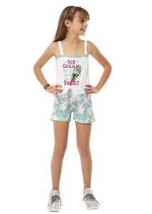 Εβίτα Fashion Ολόσωμη Φόρμα Σορτς Με Παγωτό, Λευκό