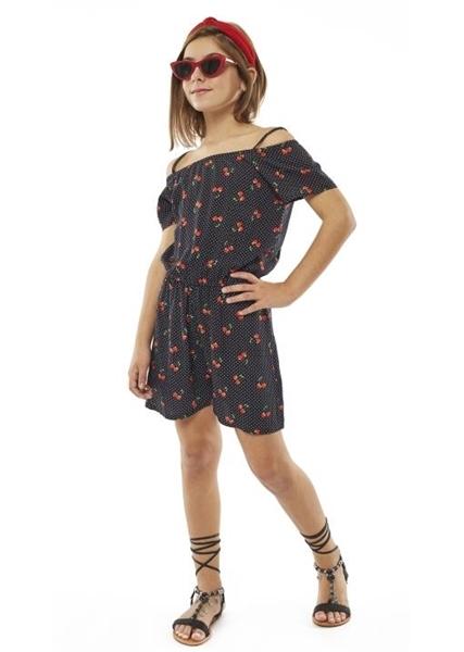 Εβίτα Fashion Ολόσωμη Φόρμα Σορτς Με Κεράσια, Μαύρο