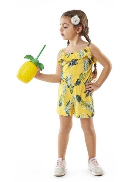 Εβίτα Fashion Παιδική Ολόσωμη Φόρμα Σορτς Με Ανανά, Κίτρινο