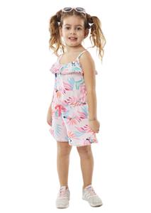 Εβίτα Fashion Παιδική Ολόσωμη Φόρμα Σορτς Με Παπαγάλους, Ροζ