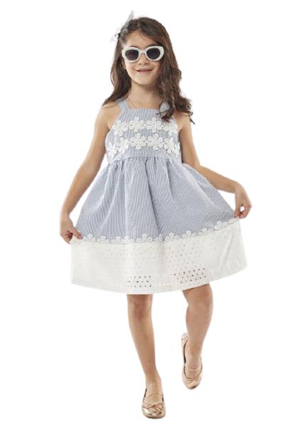 Εβίτα Fashion Παιδικό Φόρεμα Με Λουλούδια Πλεκτά Κιπουρ, Σιέλ
