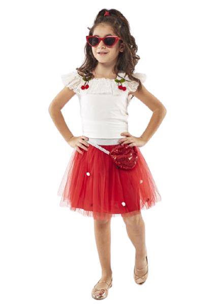 Εβίτα Fashion Παιδικό Σετ Φούστα Με Τούλι Και Τοπ Κερασάκια, Κόκκινο