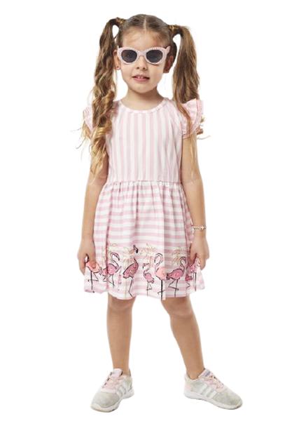 Εβίτα Fashion Παιδικό Φόρεμα Μακώ Ριγέ Φλαμίνγκο, Ροζ