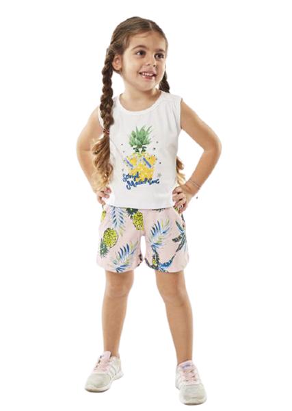 Εβίτα Fashion Παιδικό Μακώ Σετ Σορτς Μπλούζα Ανανάς, Ροζ