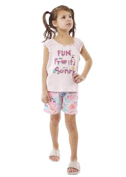 Εβίτα Fashion Παιδικό Μακώ Σετ Σορτς Μπλούζα Παπαγάλος, Ροζ