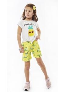Εβίτα Fashion Παιδικό Μακώ Σετ Σορτς Μπλούζα Pineapple, Lime