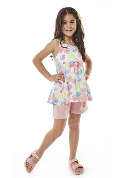 Εβίτα Fashion Παιδικό Μακώ Σετ Σορτς Μπλούζα Λουλούδια, Ροζ