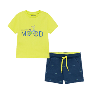 Mayoral Bebe Σετ Μακώ Βερμούδα Και Μπλούζα Για Νεογέννητο Αγόρι Mood, Lime