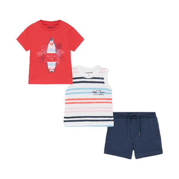 Mayoral Bebe Σετ Μακώ Βερμούδα Και 2 Μπλούζες Για Νεογέννητο Αγόρι Surf, Κοραλί