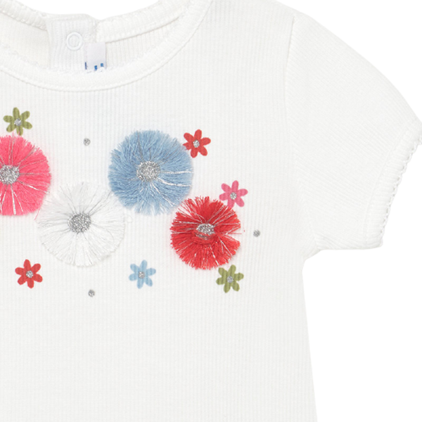 Mayoral Bebe Μπλούζα Για Νεογέννητο Κορίτσι Λουλούδια, Λευκή