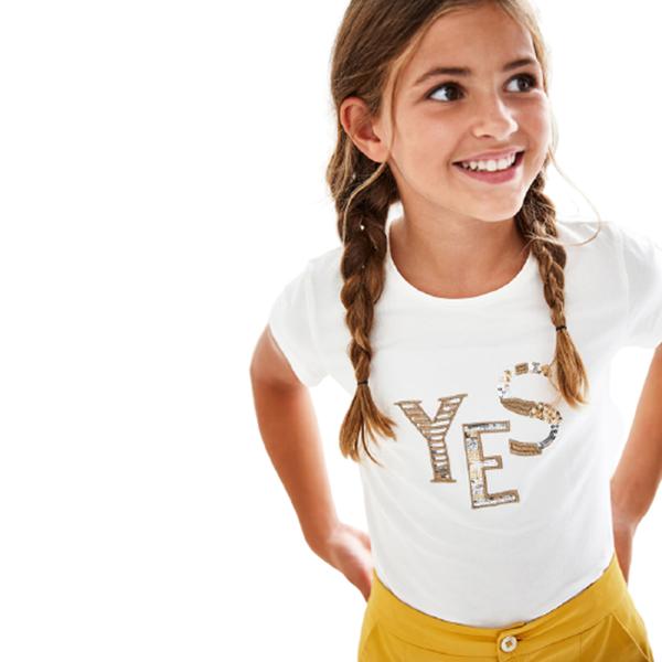 Mayoral Μπλούζα Ecofriends Για Κορίτσι Yes, Εκρού