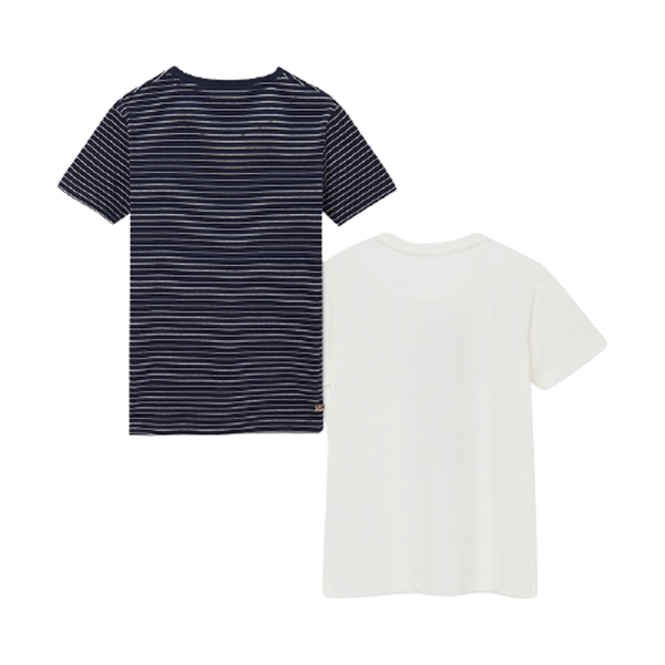 Mayoral Σετ 2 Μπλούζες Κοντομάνικες Με Σχέδιο Και Ρίγες Για Αγόρι, Μπλέ