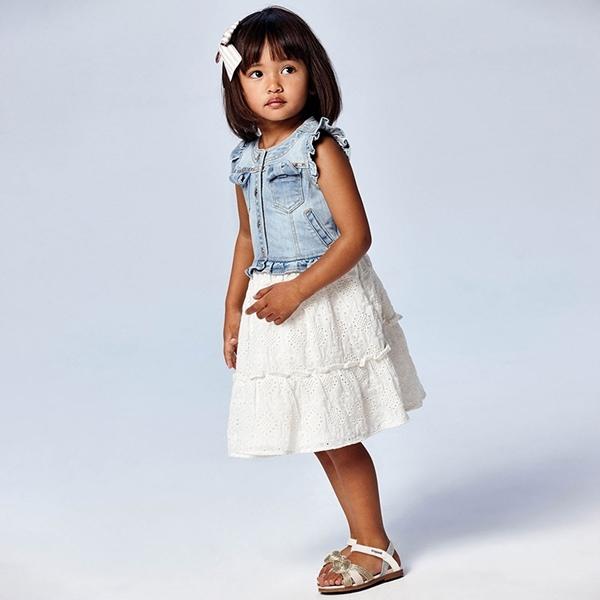 Mayoral Παιδικό Φόρεμα Για Κορίτσι, Τζιν Εκρού
