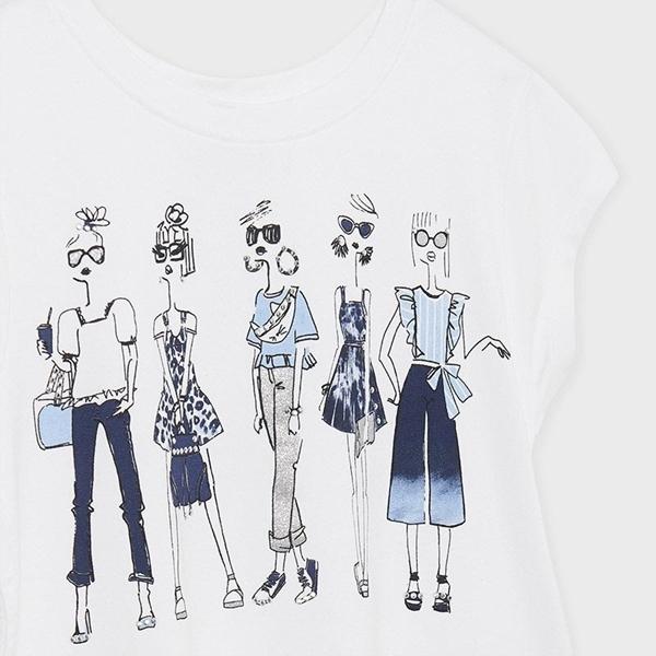 Mayoral Κοντομάνικη Μπλούζα Ασύμμετρη Για Κορίτσια, Λευκό