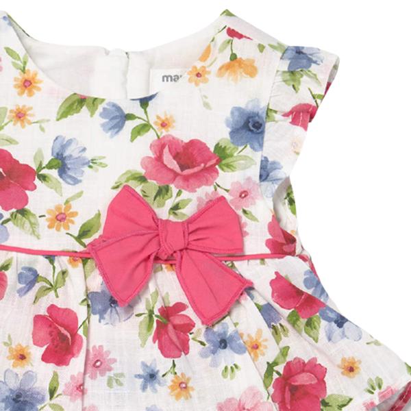 Mayoral Bebe Φόρεμα Φλοράλ Και Βρακάκι Για Νεογέννητο Κορίτσι, Ροζ