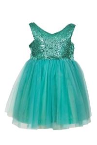 M&B Fashion Παιδικό Φόρεμα Με Παγιέτες Και Τούλι, Μέντα