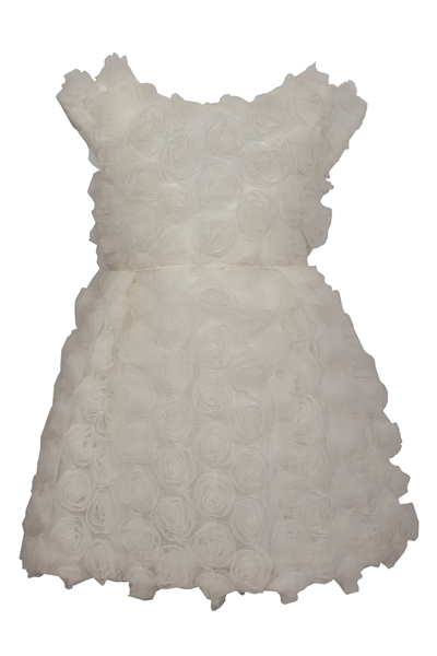 M&B Fashion Παιδικό Ρομαντικό Φόρεμα Με Λουλούδια Δαντέλας, Εκρού