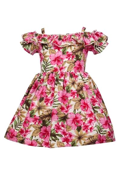 M&B Fashion Παιδικό Φόρεμα Φλοράλ Εξώπλατο Με Τιράντες, Ροζ
