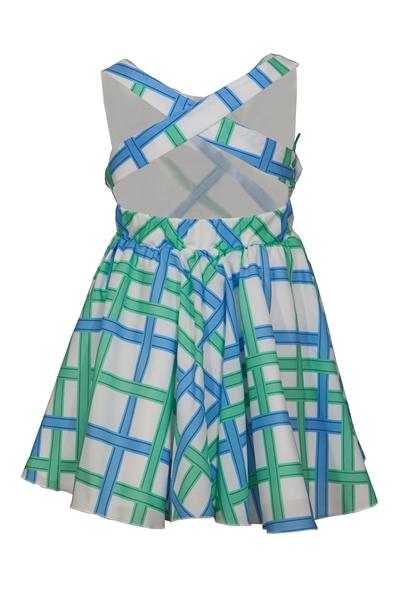 M&B Fashion Παιδικό Φόρεμα Εξώπλατο Με Ρίγες, Μέντα Σιέλ