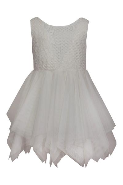 M&B Fashion Παιδικό Φόρεμα Με τούλι και Δαντέλα, Εκρού