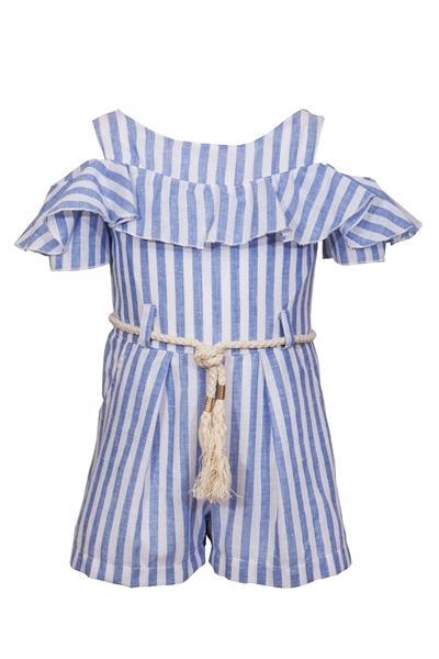 M&B Fashion Παιδική Ολόσωμη Φόρμα Σόρτς Με Ζωνίτσα Και Ρίγες, Σιέλ