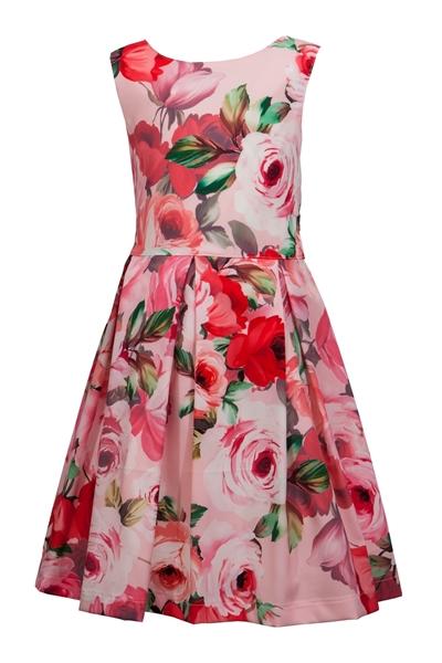 M&B Fashion Φλοράλ Φόρεμα, Ροζ
