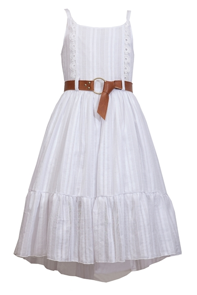 M&B Fashion Μακρύ Φόρεμα Κιπούρ Με Ζώνη, Λευκό