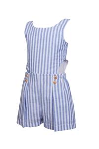 M&B Fashion Ολόσωμη Φόρμα Σόρτς Με Ξύλινα Κουμπιά Και Ρίγες, Σιέλ