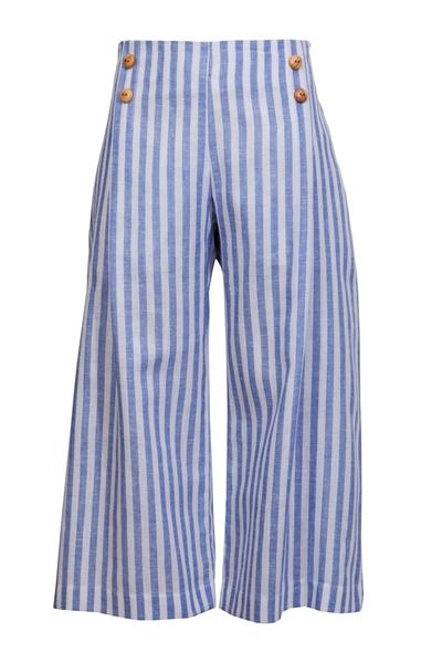 M&B Fashion Παντελόνα Με Ρίγες, Σιέλ