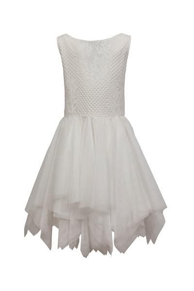 M&B Fashion Φόρεμα Με τούλι και Δαντέλα, Εκρού