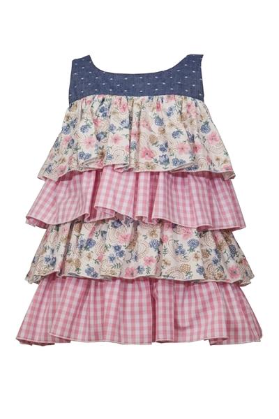 M&B Fashion Bebe Φόρεμα Με Εμπριμε Βολάν, Ροζ