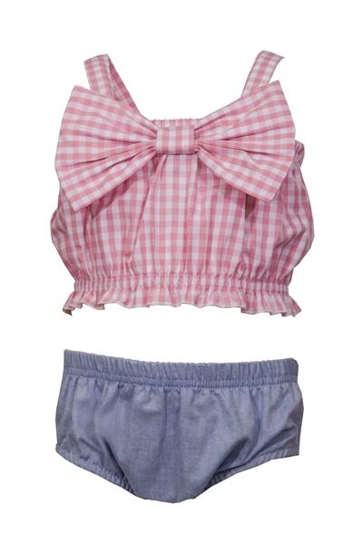 M&B Fashion Bebe Σετ Τοπ Με Σορτς Βρακάκι Και Κορδέλα, Ροζ
