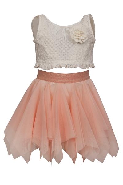 M&B Fashion Παιδικό Σετ Τοπ Κιπούρ Με Φιόγκο Πίσω Και Φούστα Με Τούλι, Σομόν