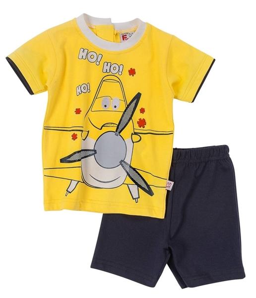 Funky Bebe Σετ Μακώ Βερμούδα Για Αγόρι Ελικοπτεράκι, Κίτρινο