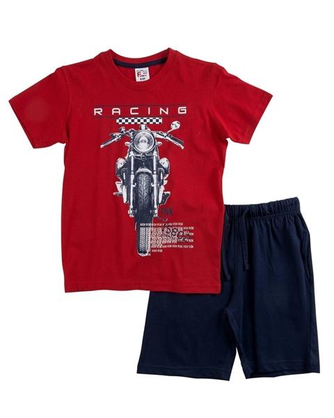 Funky Σετ Μακώ Βερμούδα Και Μπλούζα Racing, Κόκκινο